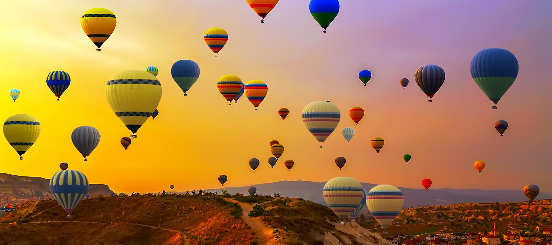 Hot air balloons dot the skyline over Albuquerque, New Mexico